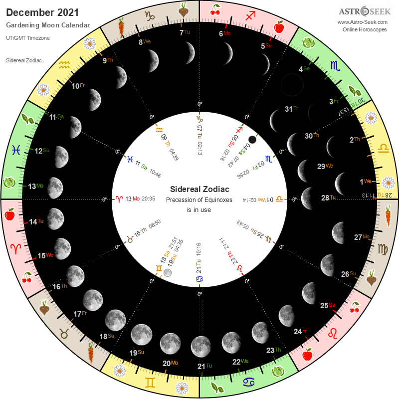 Biodynamic Gardening Moon Calendar - December 2021