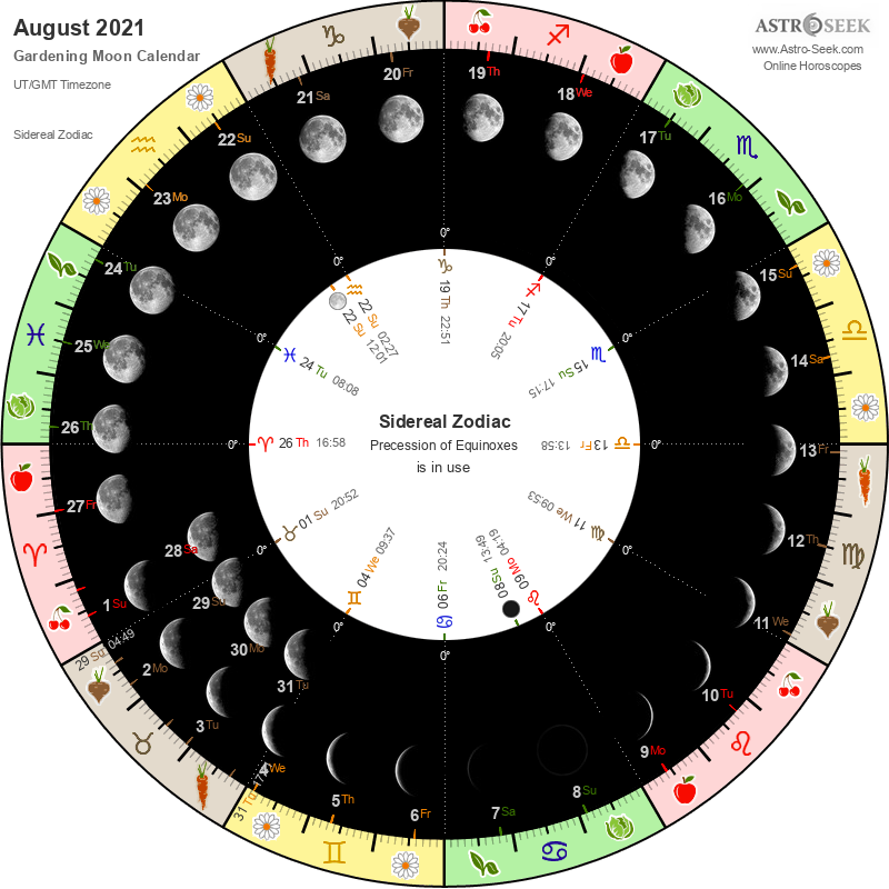 Biodynamic Gardening Moon Calendar - August 2021
