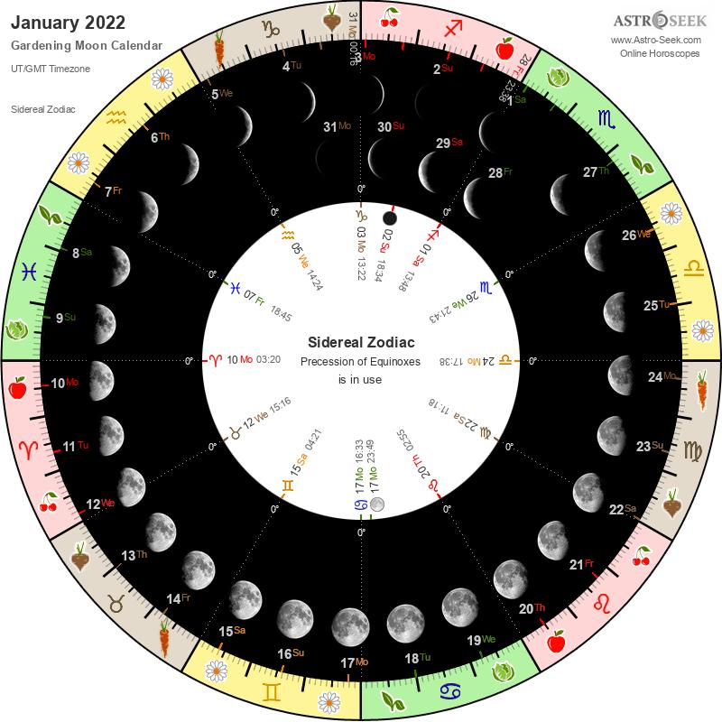 Biodynamic Gardening Moon Calendar - January 2022