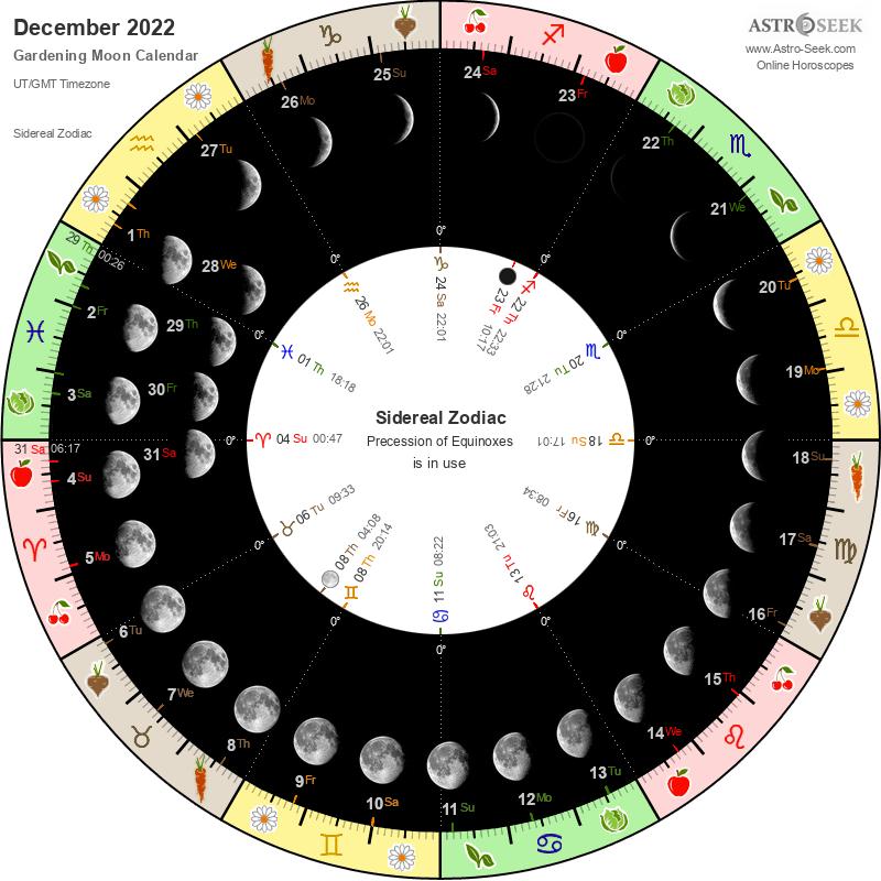 Moon Planting Calendar 2022.Gardening Moon Calendar December 2022 Lunar Calendar Gardening Guide 2022 December Astro Seek Com