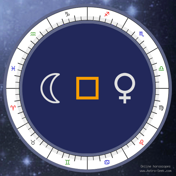 Moon Square Venus - Natal Birth Chart Aspect, Astrology Interpretations. Free Astrology Chart Meanings